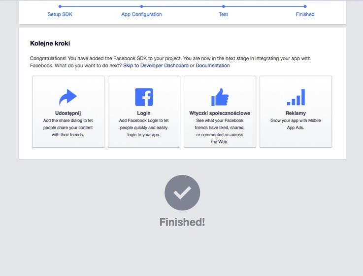 Aplikacja FB została utworzona