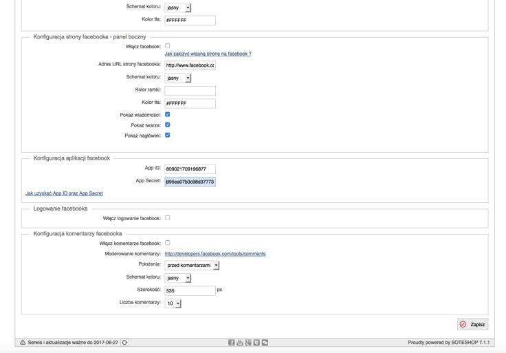 Wypełnij dane w panelu sklepu internetowego SOTESHOP