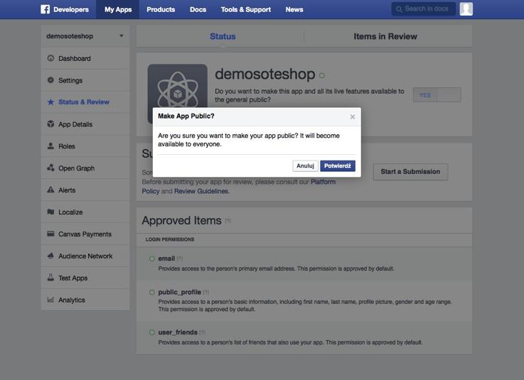 Zatwierdź i aplikacja FB dla sklepu jest gotowa