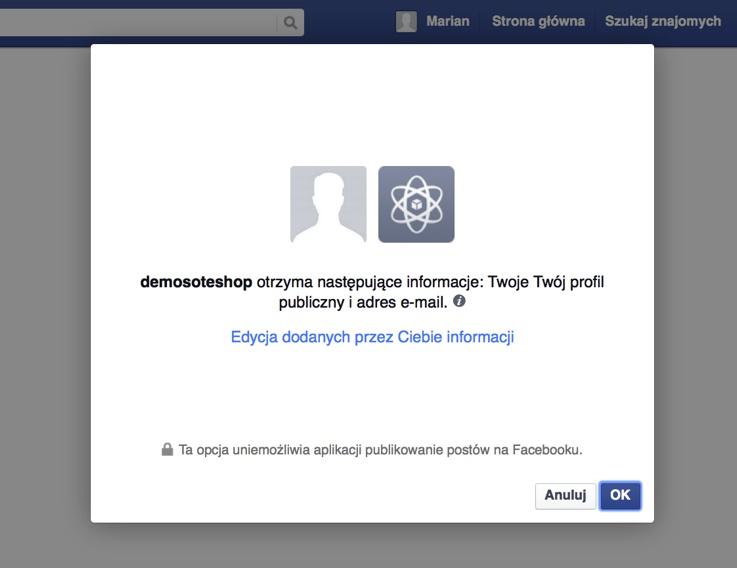 Potwierdź autoryzację w FB