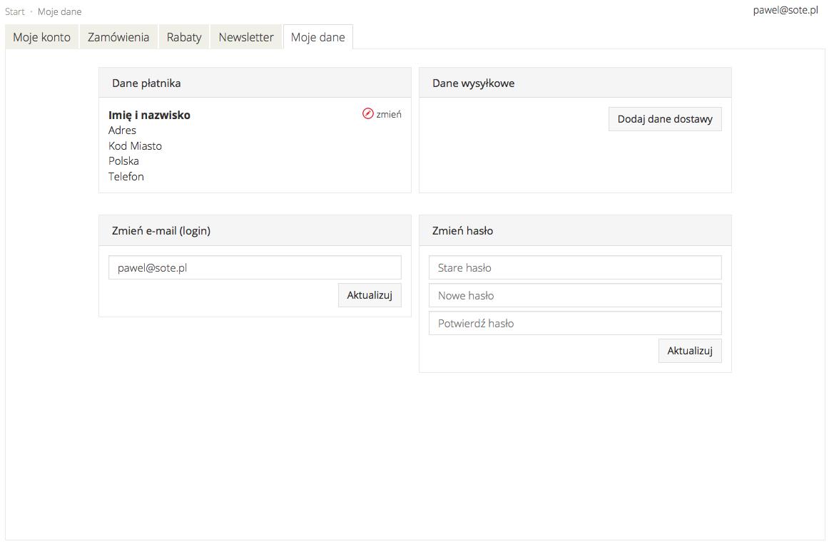 Prezentacja modułu użytkownika w sklepie internetowym SOTESHOP 7.2.5