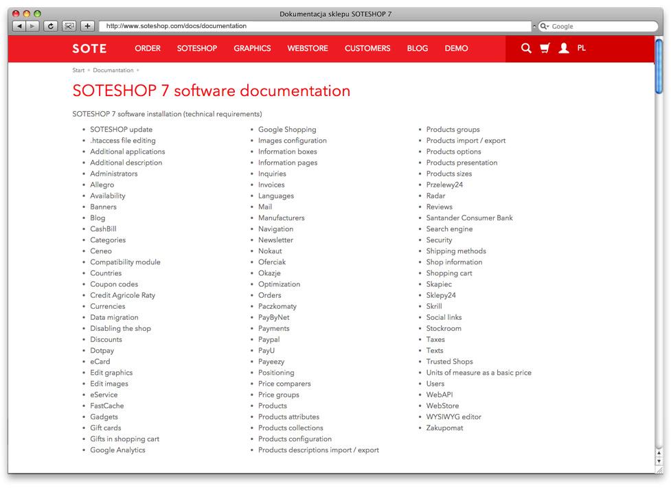 Dokumentacja SOTESHOP w języku angielskim