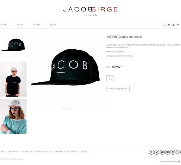Karta produktu w sklepie internetowym Jacob Birge