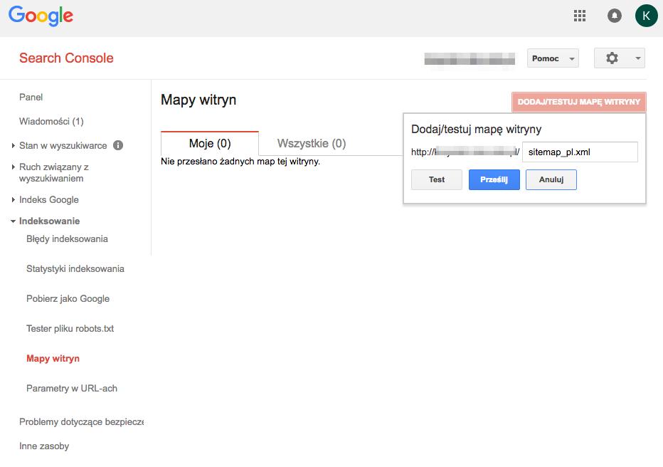 Dodanie mapy linków sklepu internetowego do Google