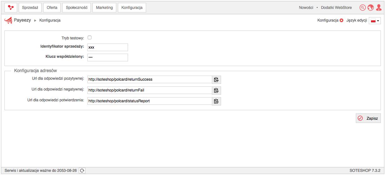 Konfiguracja Payeezy w sklepie internetowym SOTESHOP