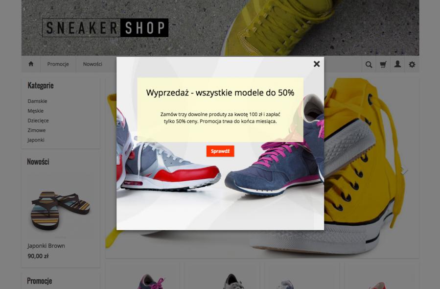 Prezentacja dodatku PopUp w sklepie internetowym SOTESHOP w temacie GialloRWD