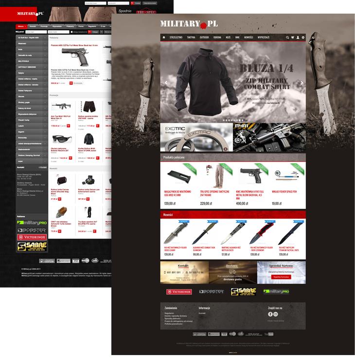 Porównanie starego i nowego sklepu internetowego Military