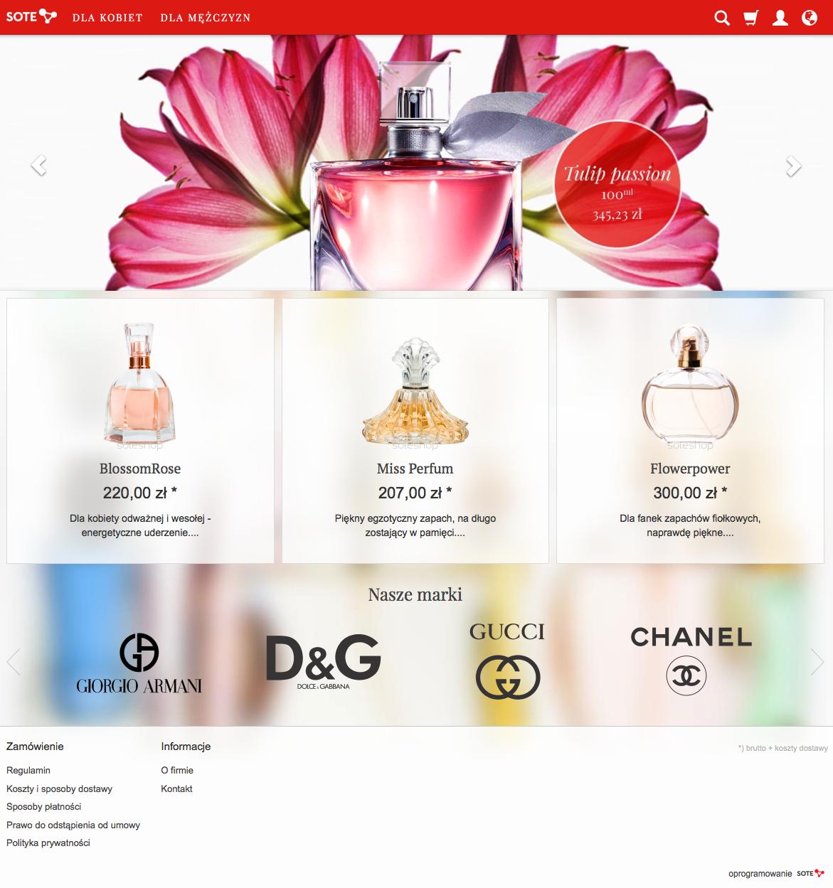 Prezentacja modułu banerów producentów w sklepie internetowym w temacie responsive