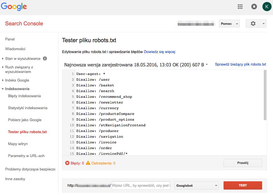 Sprawdzanie pliku robots.txt poprzez Search Console