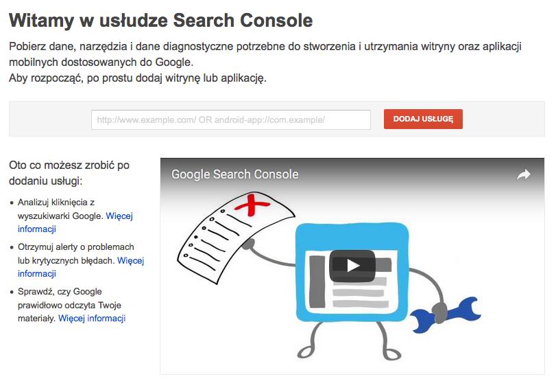 Rejestracja w usłudze Search Console