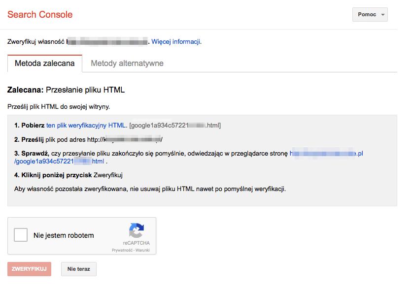 Weryfikacja sklepu internetowego w usudze Search Console