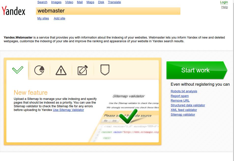Panel wyszukiwarki Yandex